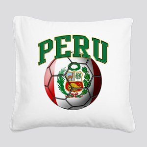 Flag of Peru Soccer Ball Square Canvas Pillow