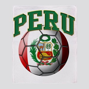 Flag of Peru Soccer Ball Throw Blanket