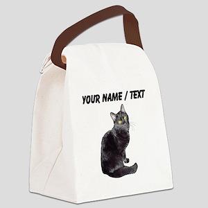 Custom Black Cat Canvas Lunch Bag