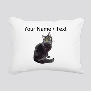 Custom Black Cat Rectangular Canvas Pillow