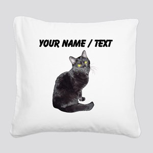 Custom Black Cat Square Canvas Pillow