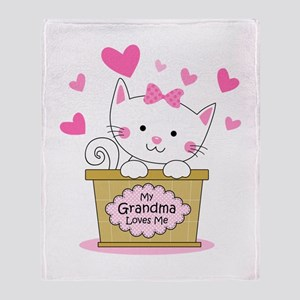 Kitty Grandma Loves Me Throw Blanket
