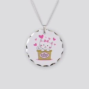 Kitty Grandma Loves Me Necklace Circle Charm