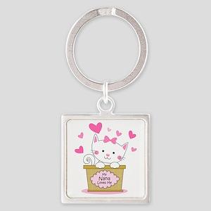 Kitty Nana Loves Me Square Keychain