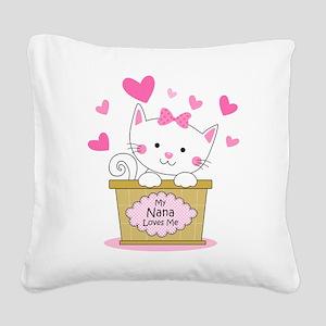 Kitty Nana Loves Me Square Canvas Pillow
