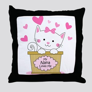 Kitty Nana Loves Me Throw Pillow