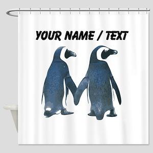 Custom Penguins Holding Hands Shower Curtain