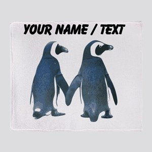 Custom Penguins Holding Hands Throw Blanket