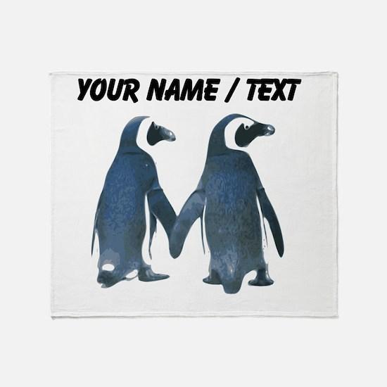 Custom Penguins Holding Hands Throw Blanket