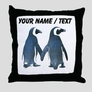 Custom Penguins Holding Hands Throw Pillow