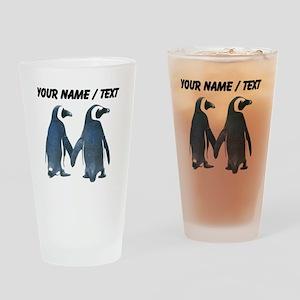 Custom Penguins Holding Hands Drinking Glass
