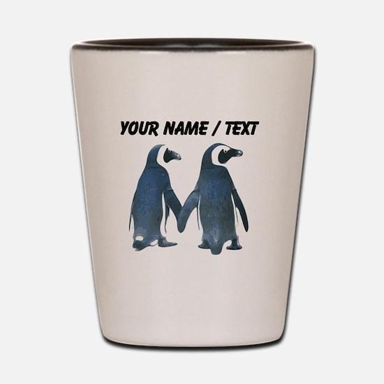 Custom Penguins Holding Hands Shot Glass