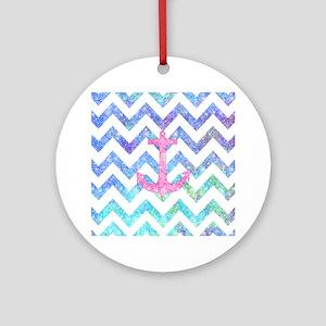 Pink Glitter Nautical Anchor Waterc Round Ornament