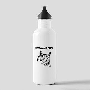 Custom Owl Sketch Sports Water Bottle