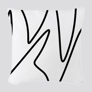 Black On White Abstract Waves Woven Throw Pillow