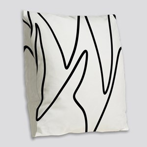 Black On White Abstract Waves Burlap Throw Pillow