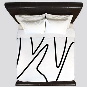 Black On White Abstract Waves King Duvet