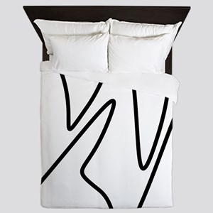 Black On White Abstract Waves Queen Duvet