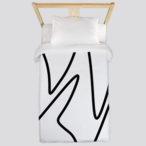 Black On White Abstract Waves Twin Duvet