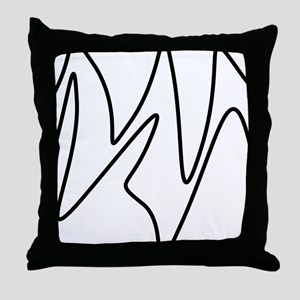 Black On White Abstract Waves Throw Pillow