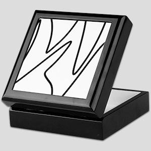 Black On White Abstract Waves Keepsake Box