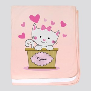 Personalized Kitty Love baby blanket