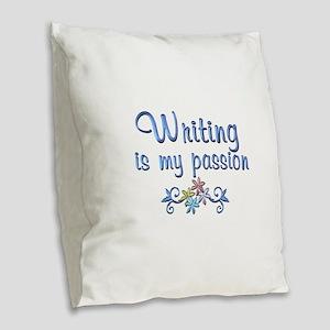 Writing Passion Burlap Throw Pillow