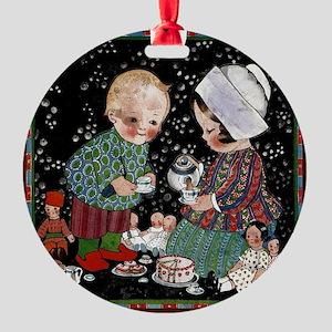 Vintage Children's Tea Party Round Ornament