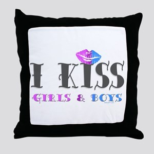 I Kiss Girls & Boys Throw Pillow