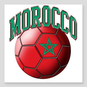 "Flag of Morocco Soccer B Square Car Magnet 3"" x 3"""