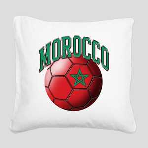 Flag of Morocco Soccer Ball Square Canvas Pillow