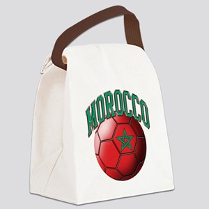 Flag of Morocco Soccer Ball Canvas Lunch Bag