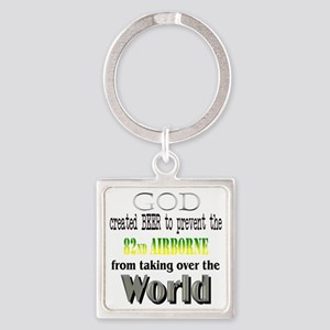 82Nd Airborne And Beer Square Keychain