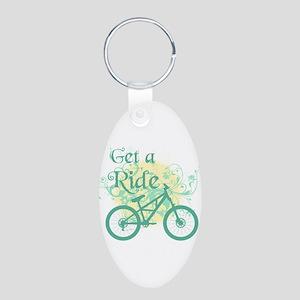 Get a ride Biking Aluminum Oval Keychain