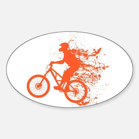 Biker ink splash Sticker (Oval)