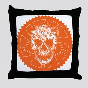 Chainring skull Throw Pillow