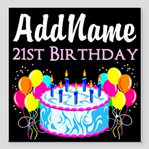 """21 YR OLD PARTY Square Car Magnet 3"""" x 3"""""""
