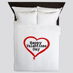 Happy Valentines Day with Large Heart Queen Duvet