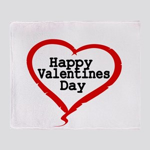Happy Valentines Day with Large Heart Throw Blanke
