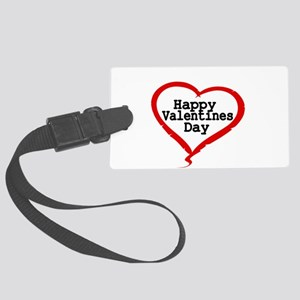 Happy Valentines Day with Large Heart Luggage Tag