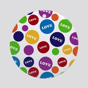 Colorful Love Polka Dots Ornament (Round)