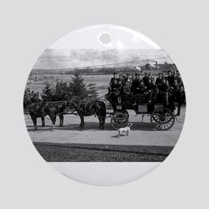 Men riding in a Tally-ho Ornament (Round)