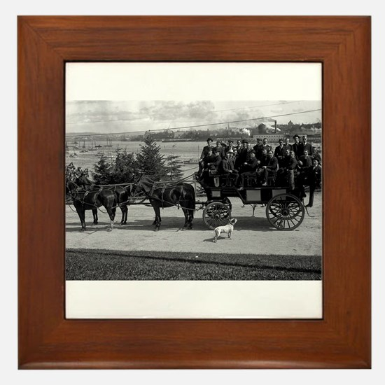 Men riding in a Tally-ho Framed Tile