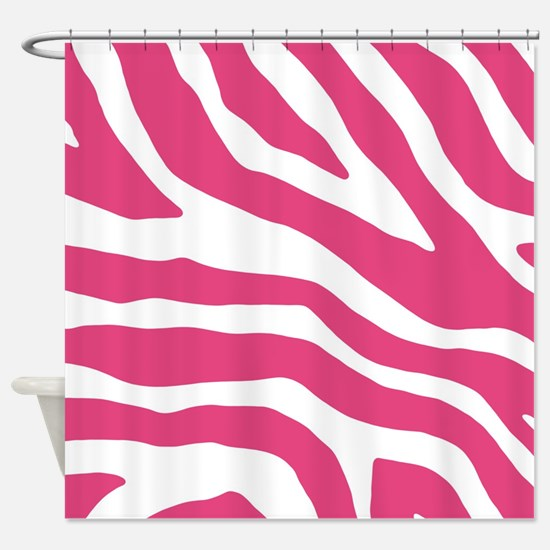 Fuchsia White Zebra Pattern Shower Curtain
