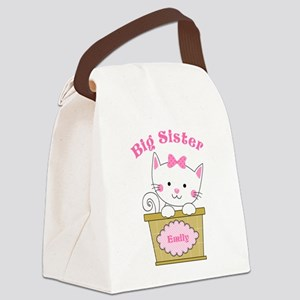 Personalized Kitty Big Sister Canvas Lunch Bag