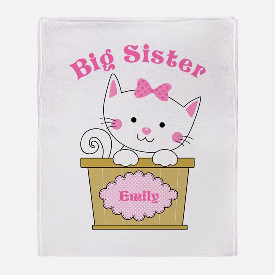 Personalized Kitty Big Sister Throw Blanket