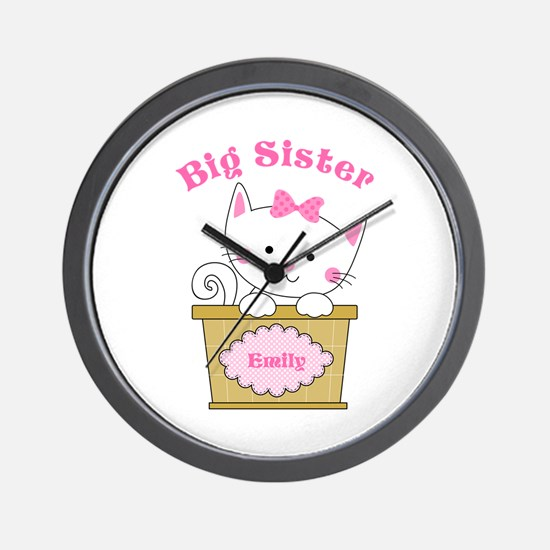 Personalized Kitty Big Sister Wall Clock
