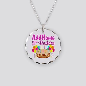 DAZZLING 21ST Necklace Circle Charm