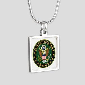 U.S. Army Symbol Silver Square Necklace