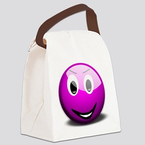 Purple Smiley Canvas Lunch Bag